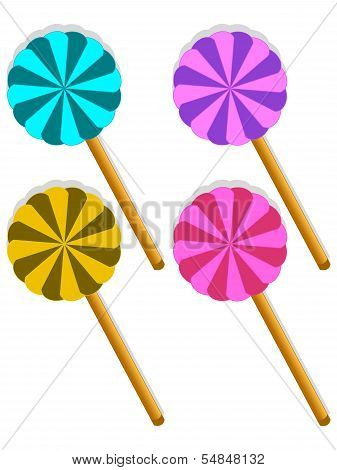 Set Of Four Sweet Lollipop