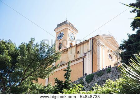 Clock Tower On Hilltop In Eze