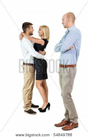 Young Man Unhappy Jealous Couple Behind