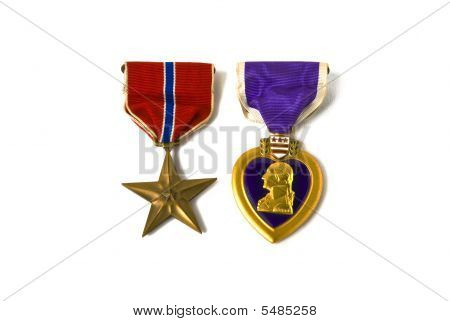 Bronze Star And Purple Heart Medals