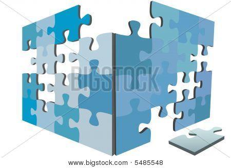 Jigsaw Puzzle-Teile als Seiten 3d Lösung Box und Stück