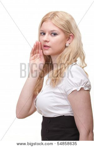 Woman Eavesdropping With Hand Behind Her Ear