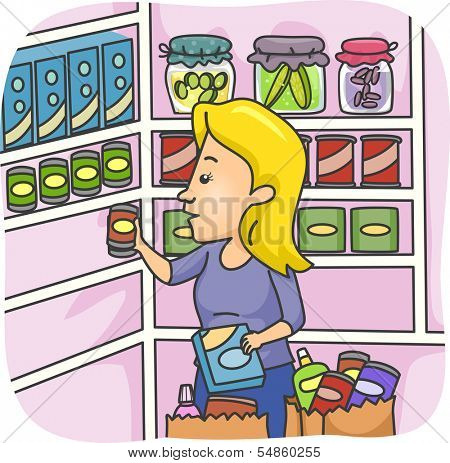 Illustration of a Woman Stocking Her Pantry with Goods