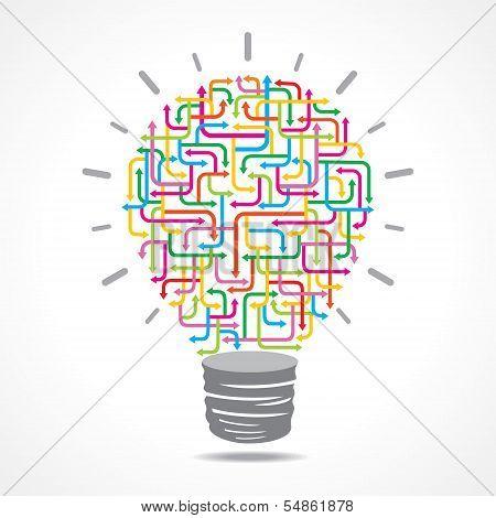 Illustration of colorful arrow light-bulb