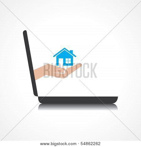 Hand Holding nach Hause kommt von Laptop-Bildschirm