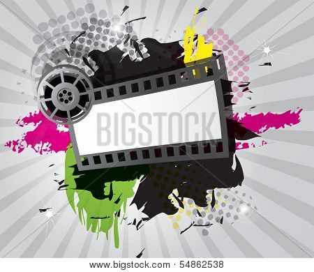 Movie background with film strip, vector illustration