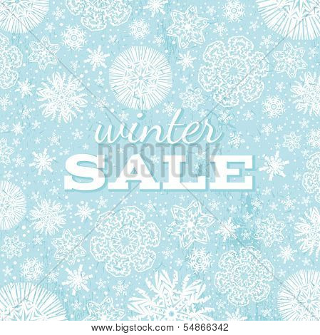 Blue Christmas Background With Snowflakes And Offer For Sale,  Vector
