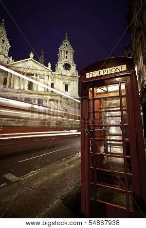 St Paul's at night with phonebox