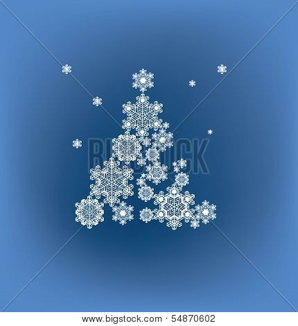 stylized silhouette  Christmas tree formed snowflakes