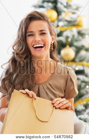 Portrait Of Happy Young Woman With Shopping Bag Near Christmas Tree