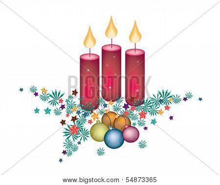 Christmas Candles Decoration on Fir Twigs and Christmas Balls