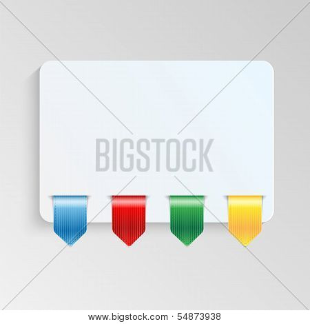 Sheet Of Paper With Multicolor Labels.blank Sheet Of Paper To Write Information.vector