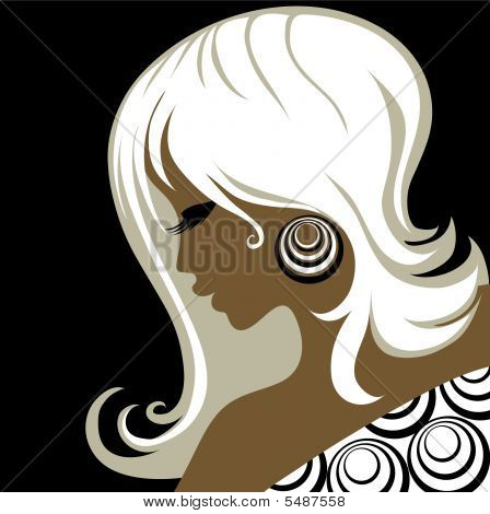 Closeup Decorative Vintage Woman With Beautiful Hair