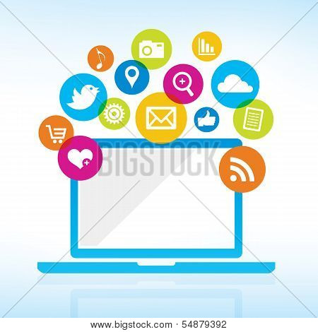 Computer with media icons