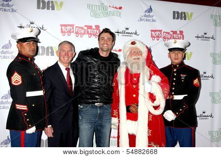 LOS ANGELES - DEC 1:  Daniel Goddard, Santa Claus, Marines at the 2013 Hollywood Christmas Parade at Hollywood & Highland on December 1, 2013 in Los Angeles, CA