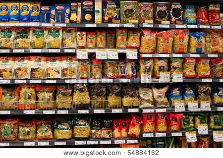 Assortment Of Italian Pasta, Macaroni In A Supermarket Siam Paragon. Bangkok, Thailand.