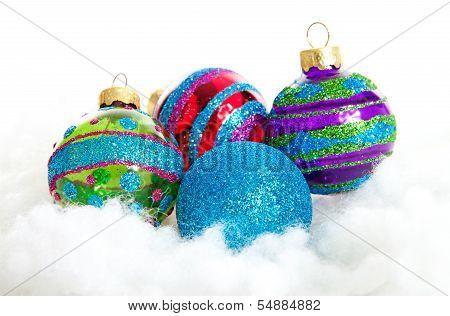 Colorful Glitter Christmas Balls