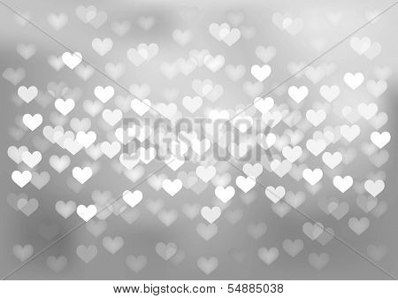 Vector background glittering silver lights in heart shape, no size limit. proportion of A4 format horizontal