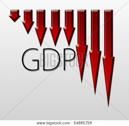 Chart Illustrating Gdp Drop, Macroeconomic Indicator Concept