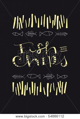Fish And Chips hand-drawn text and illustration