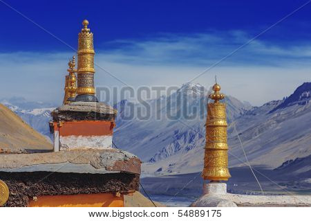 tibetan gompa on sky background