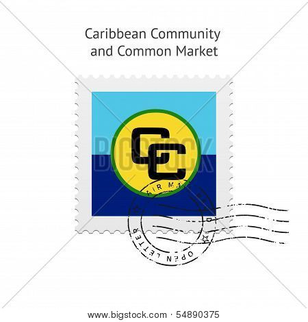 Caribbean Community and Common Market Flag Postage Stamp.