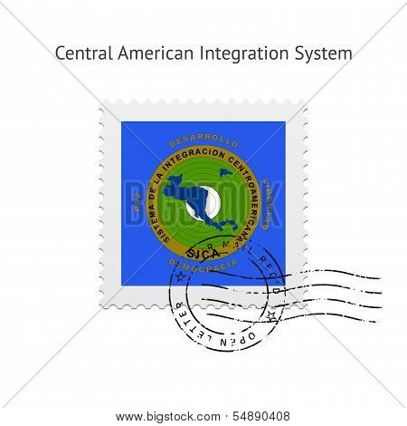 Central American Integration System Flag Postage Stamp.