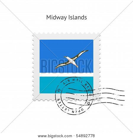Midway Islands Flag Postage Stamp.