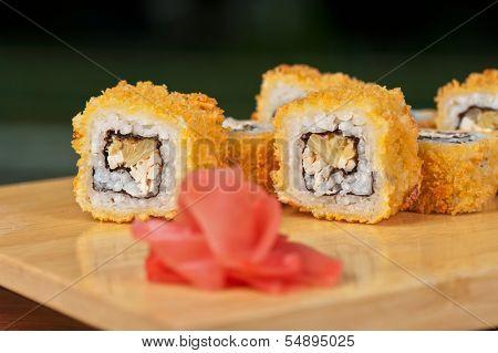 Japanese cuisine - hot sushi roll
