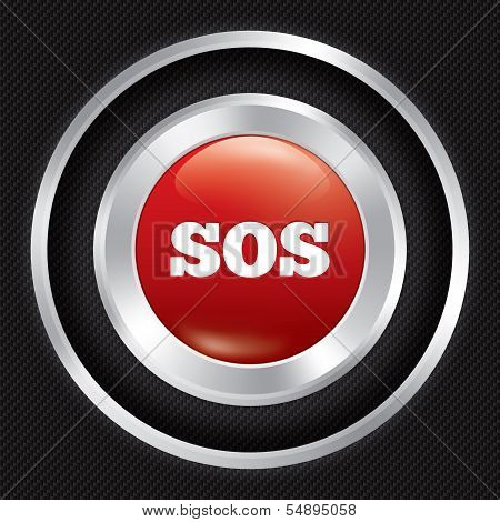 Sos button. Metallic icon on Carbon background.