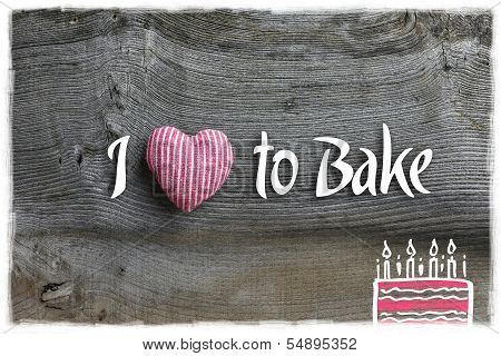 Love To Bake Message Decoration Red Stripes Fabric Heart