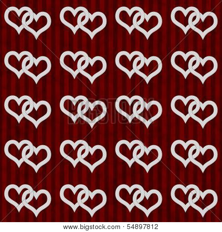 White Interwoven Hearts And Red Stripes Textured Fabric Background