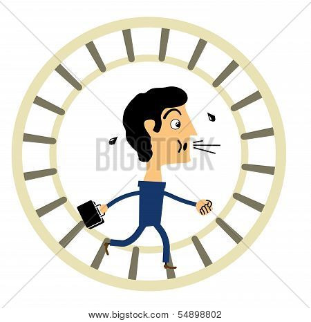 Businessman in a hamster wheel