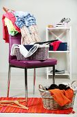 pic of slut  - Heap of  clothes on color chair - JPG
