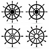 picture of ship steering wheel  - Set of steering wheels  - JPG