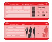 Vector image of airline boarding pass tickets with barcode and flight attendant silhouettes