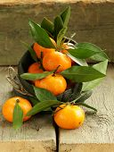 fresh ripe orange mandarins (tangerines) on a wooden table