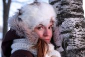 pic of ruddy-faced  - A portrait of young woman in winter outwear - JPG