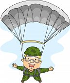 stock photo of legs apart  - Illustration of a Male Paratrooper with His Arms and Legs Spread Wide Apart - JPG