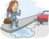foto of pissed off  - Illustration of a Woman Pissed Off at the Driver Who Splashed Water All Over Her - JPG