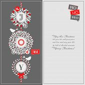 picture of aquifolium  - Christmas greeting card with holly wreath and cute birds - JPG