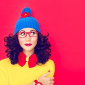 stock photo of crazy hat  - Colorful fashion  portrait a thinking funny girl - JPG