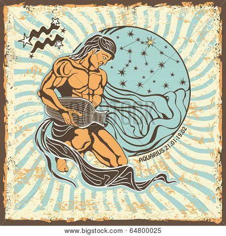 Aquarius Zodiac Sign.vintage Horoscope Card