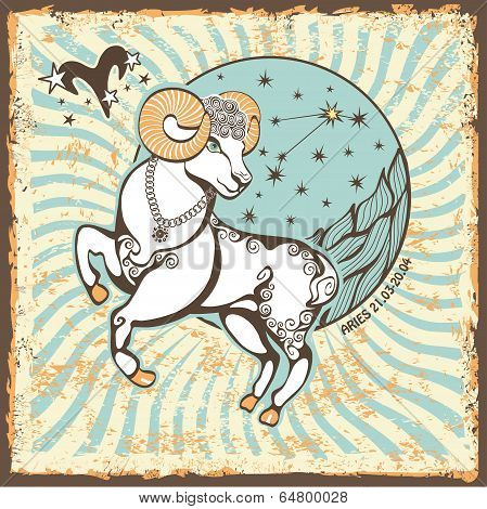 Aries  Zodiac Sign.vintage Horoscope Card