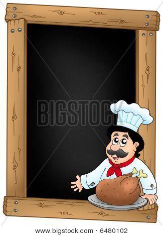 Pizarra y Chef con comida