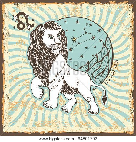 Leo Zodiac Sign.vintage Horoscope Card
