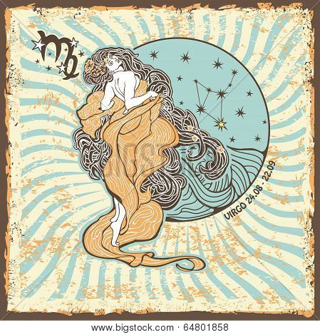 Virgo Zodiac Sign.vintage Horoscope Card
