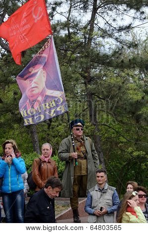 People with Joseph Stalin portrait celebrate Victory Day,Odessa,Ukraine