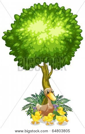 Illustration of a duck and her ducklings under the tree on a white background