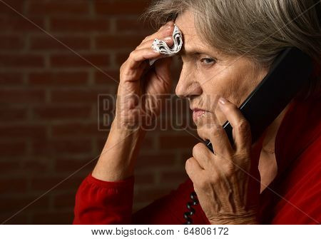 Elderly woman has flu